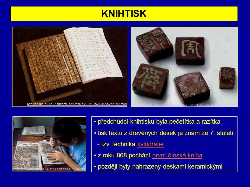 KNIHTISK předchůdci knihtisku byla pečetítka a razítka