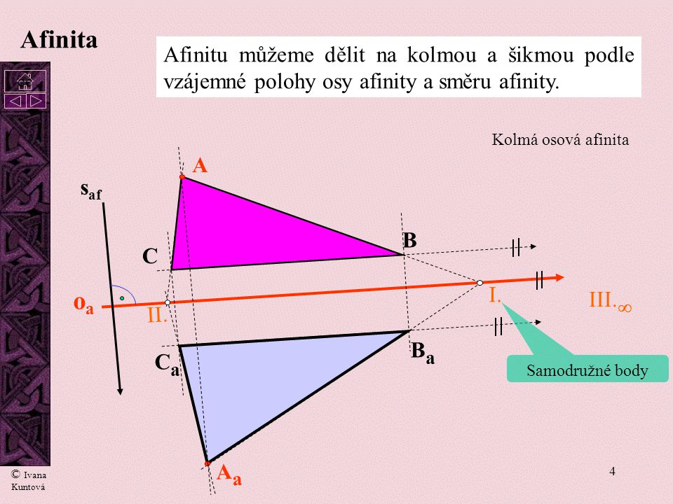 Afinita Afinitu můžeme dělit na kolmou a šikmou podle vzájemné polohy osy afinity a směru afinity. cc.