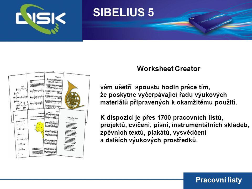 SIBELIUS 5 Worksheet Creator Pracovní listy
