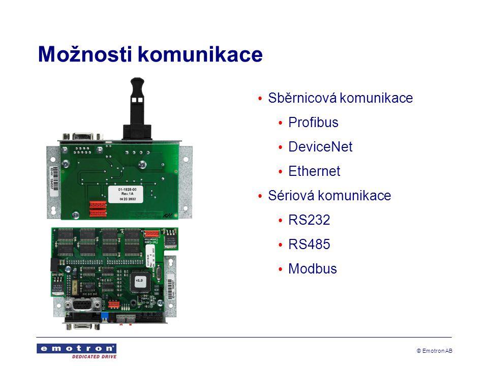 Možnosti komunikace Sběrnicová komunikace Profibus DeviceNet Ethernet