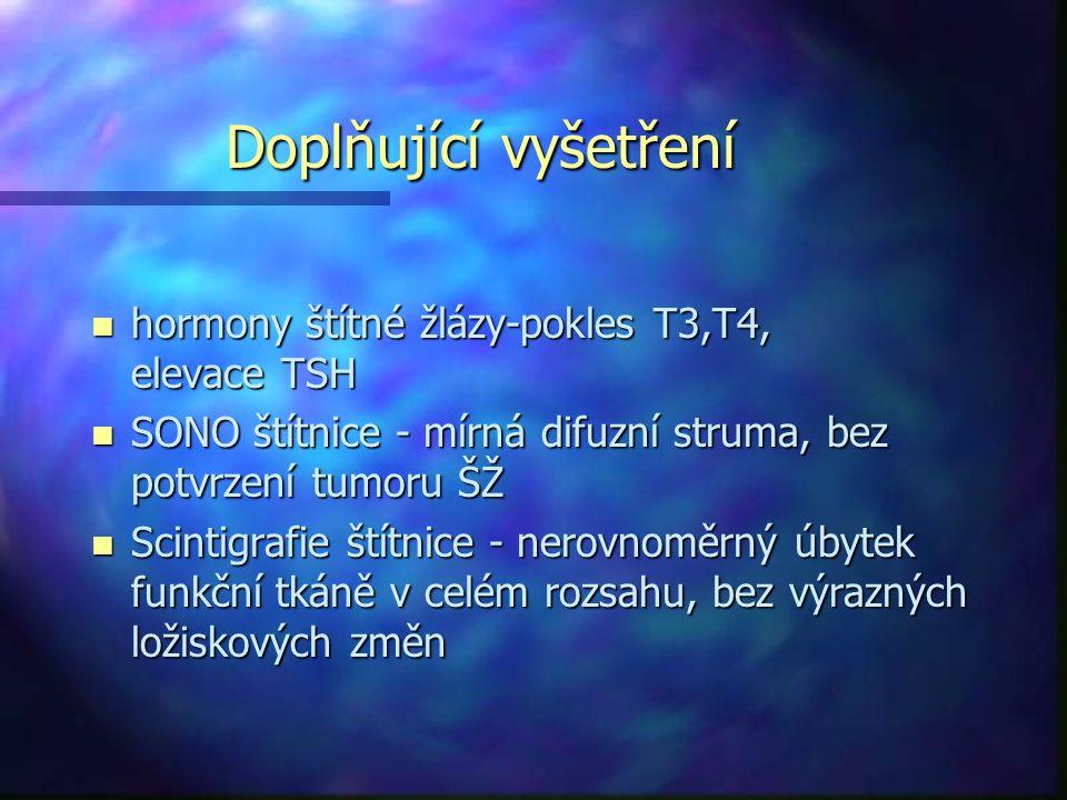 Doplňující vyšetření hormony štítné žlázy-pokles T3,T4, elevace TSH
