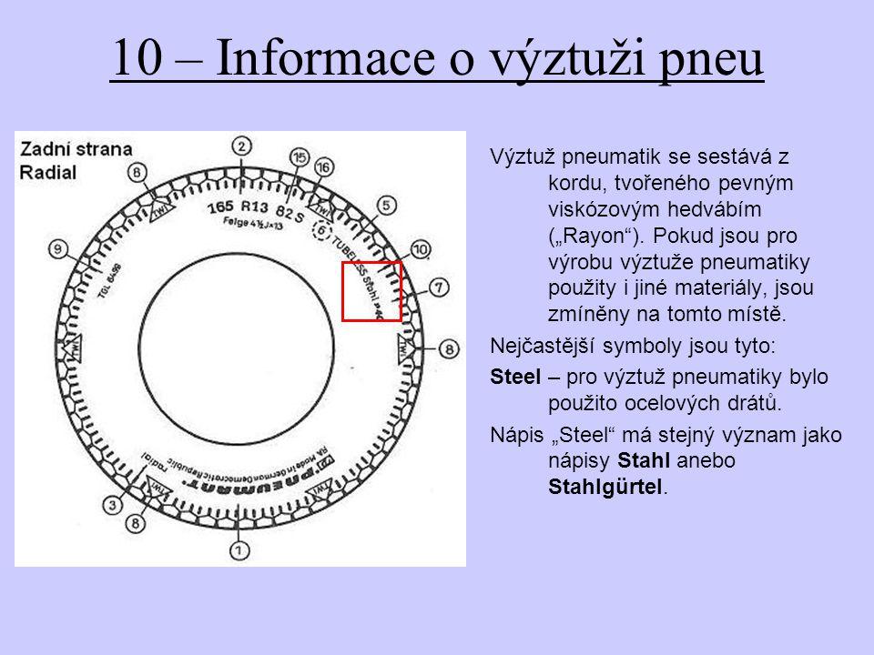 10 – Informace o výztuži pneu