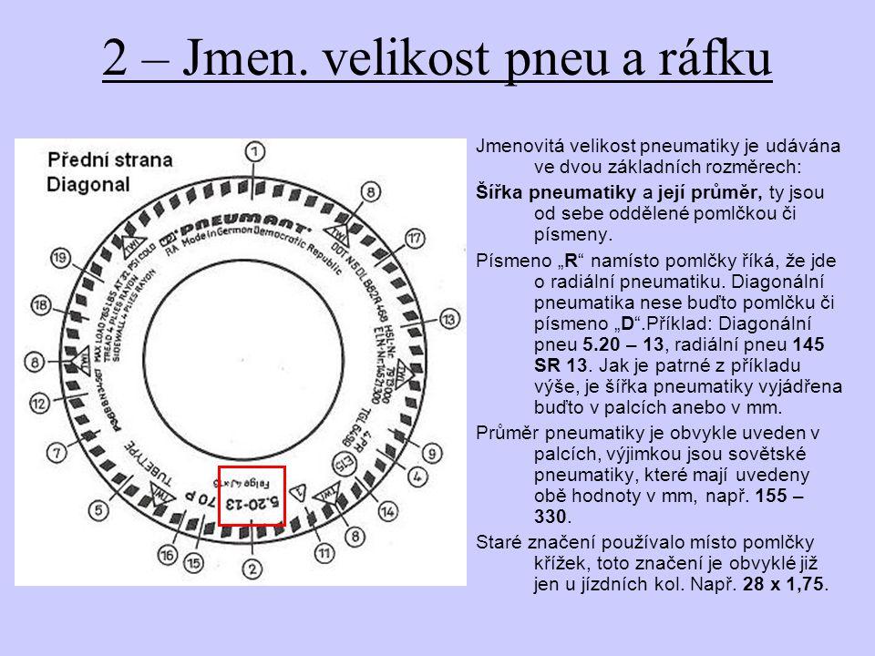 2 – Jmen. velikost pneu a ráfku