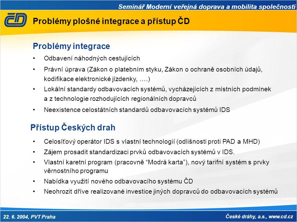 Problémy plošné integrace a přístup ČD