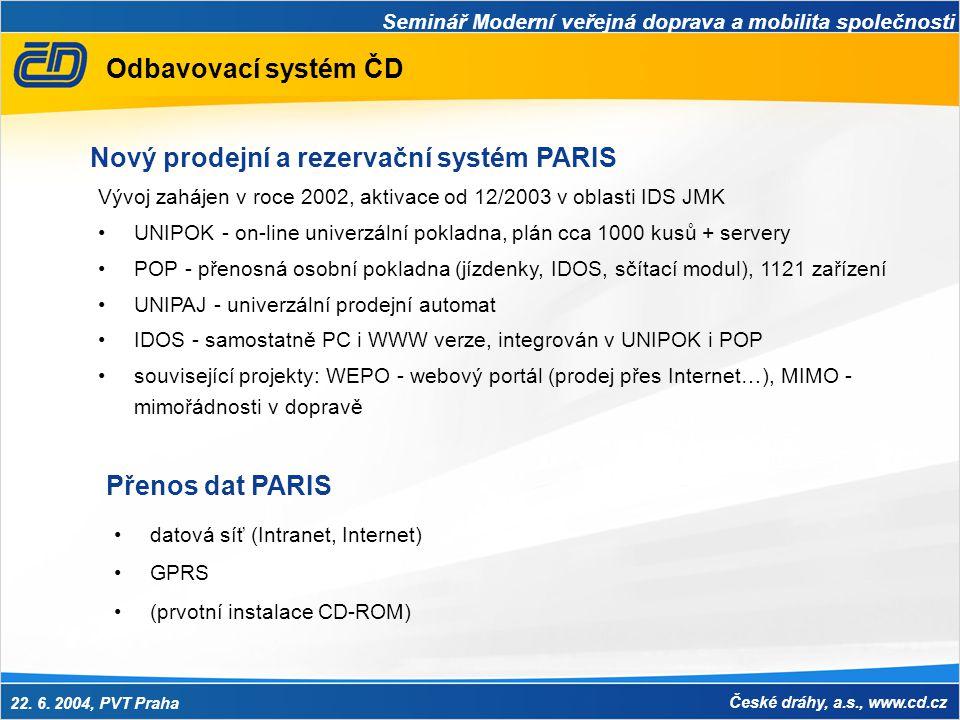 Nový prodejní a rezervační systém PARIS