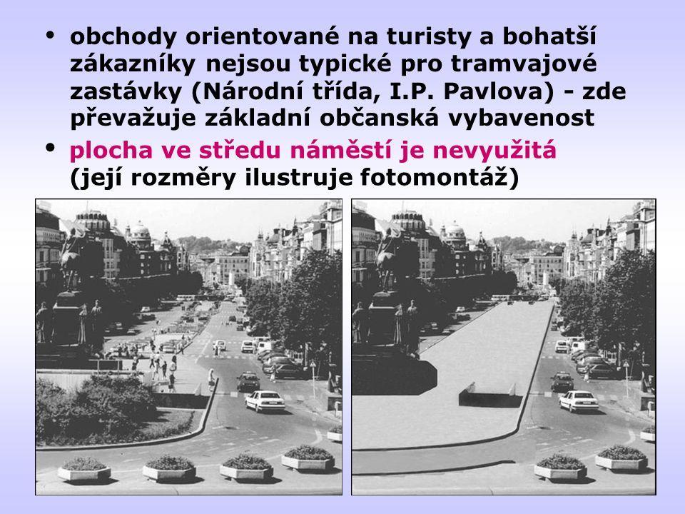 obchody orientované na turisty a bohatší zákazníky nejsou typické pro tramvajové zastávky (Národní třída, I.P. Pavlova) - zde převažuje základní občanská vybavenost