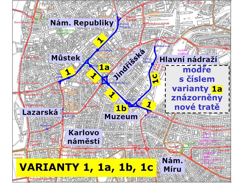 VARIANTY 1, 1a, 1b, 1c 1 1a modře s číslem 1c varianty m znázorněny