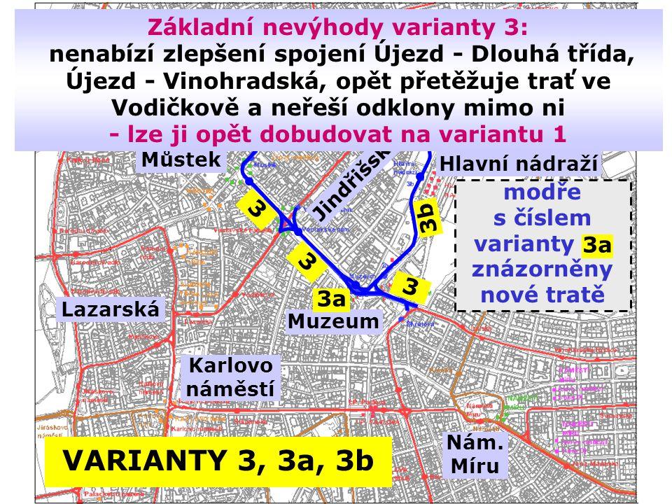 Základní nevýhody varianty 3: nenabízí zlepšení spojení Újezd - Dlouhá třída, Újezd - Vinohradská, opět přetěžuje trať ve Vodičkově a neřeší odklony mimo ni - lze ji opět dobudovat na variantu 1