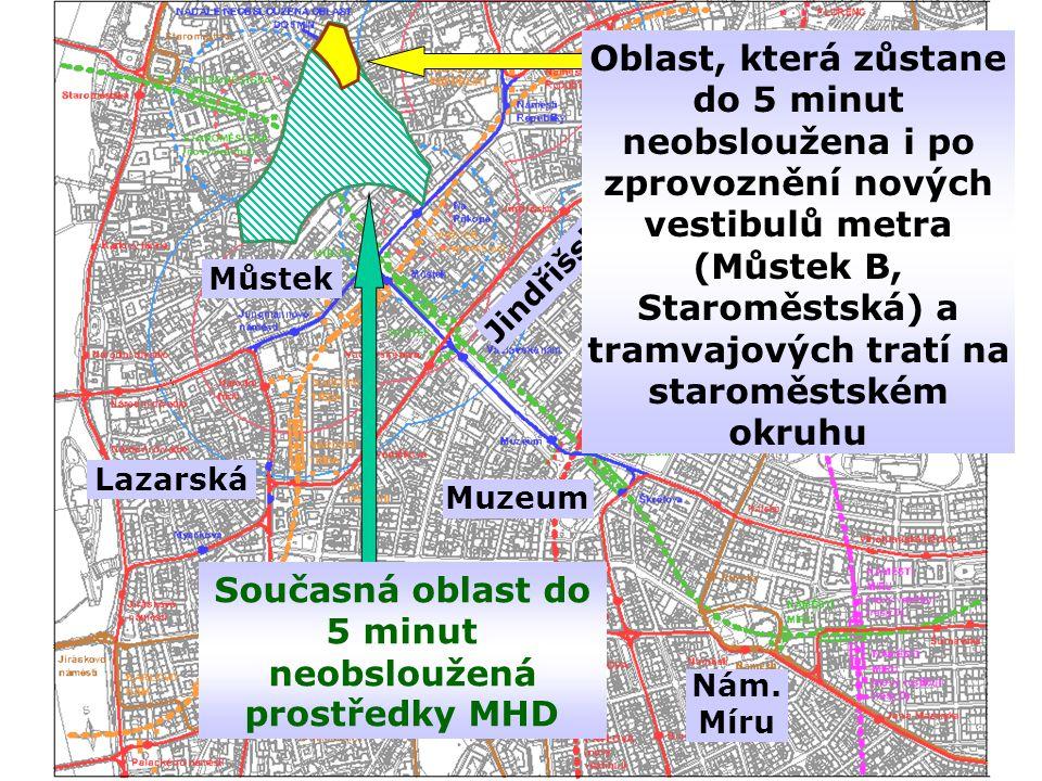 Současná oblast do 5 minut neobsloužená prostředky MHD