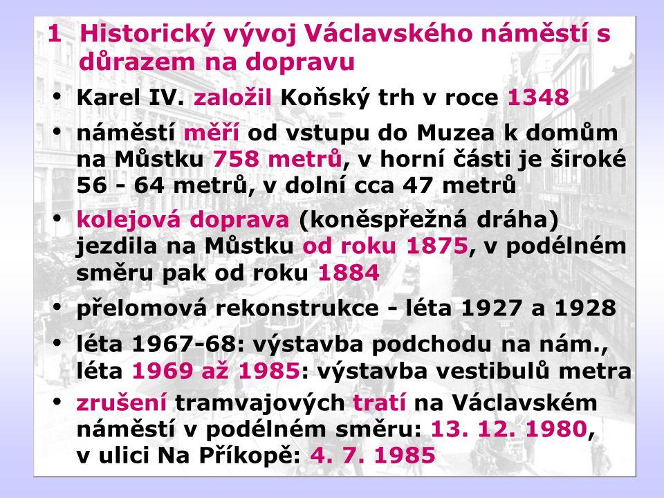 1 Historický vývoj Václavského náměstí s důrazem na dopravu