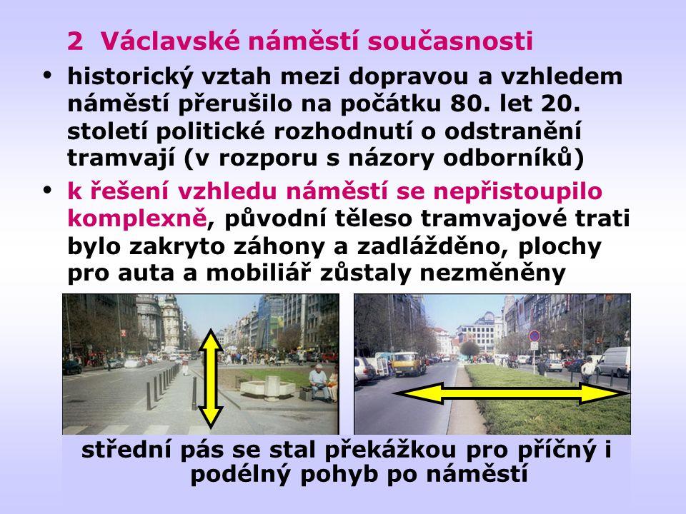 střední pás se stal překážkou pro příčný i podélný pohyb po náměstí