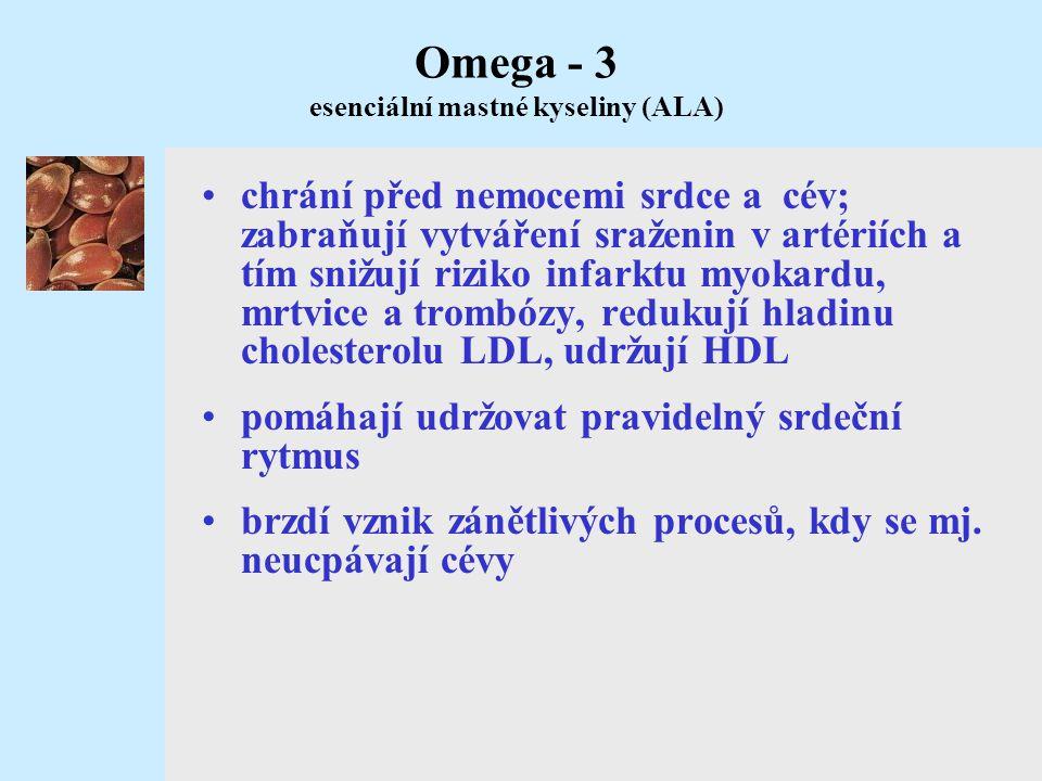 Omega - 3 esenciální mastné kyseliny (ALA)