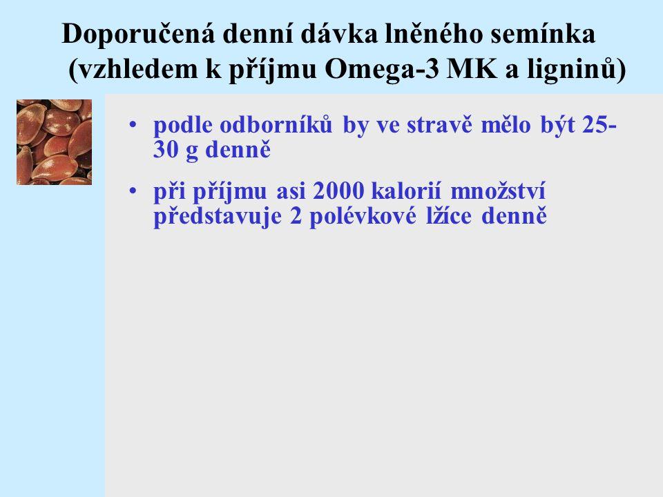 Doporučená denní dávka lněného semínka (vzhledem k příjmu Omega-3 MK a ligninů)