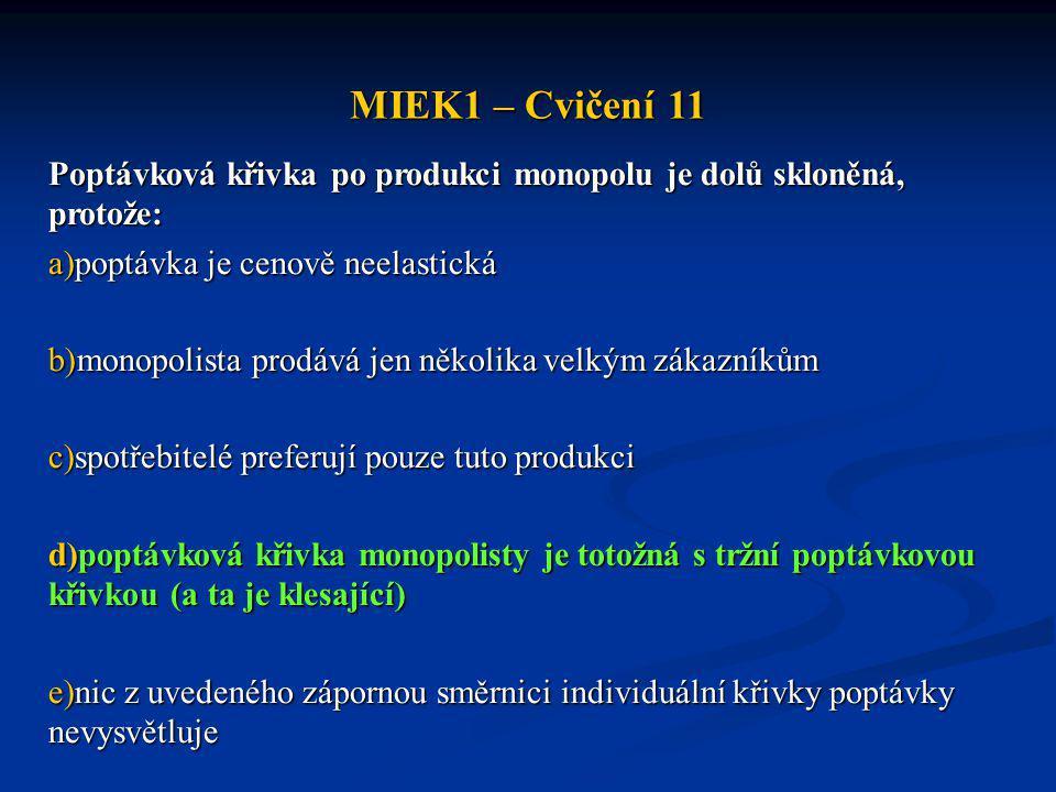 MIEK1 – Cvičení 11 Poptávková křivka po produkci monopolu je dolů skloněná, protože: poptávka je cenově neelastická.