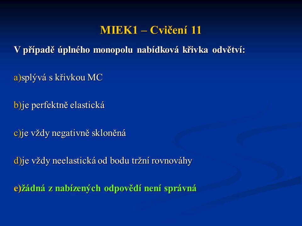 MIEK1 – Cvičení 11 V případě úplného monopolu nabídková křivka odvětví: splývá s křivkou MC. je perfektně elastická.