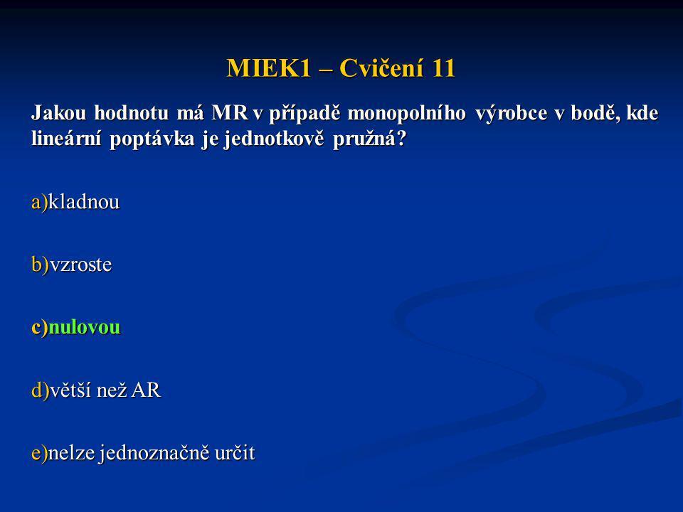 MIEK1 – Cvičení 11 Jakou hodnotu má MR v případě monopolního výrobce v bodě, kde lineární poptávka je jednotkově pružná