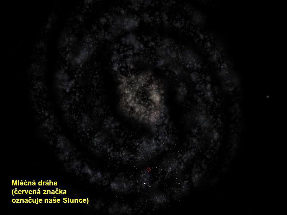 Mléčná dráha (červená značka označuje naše Slunce)