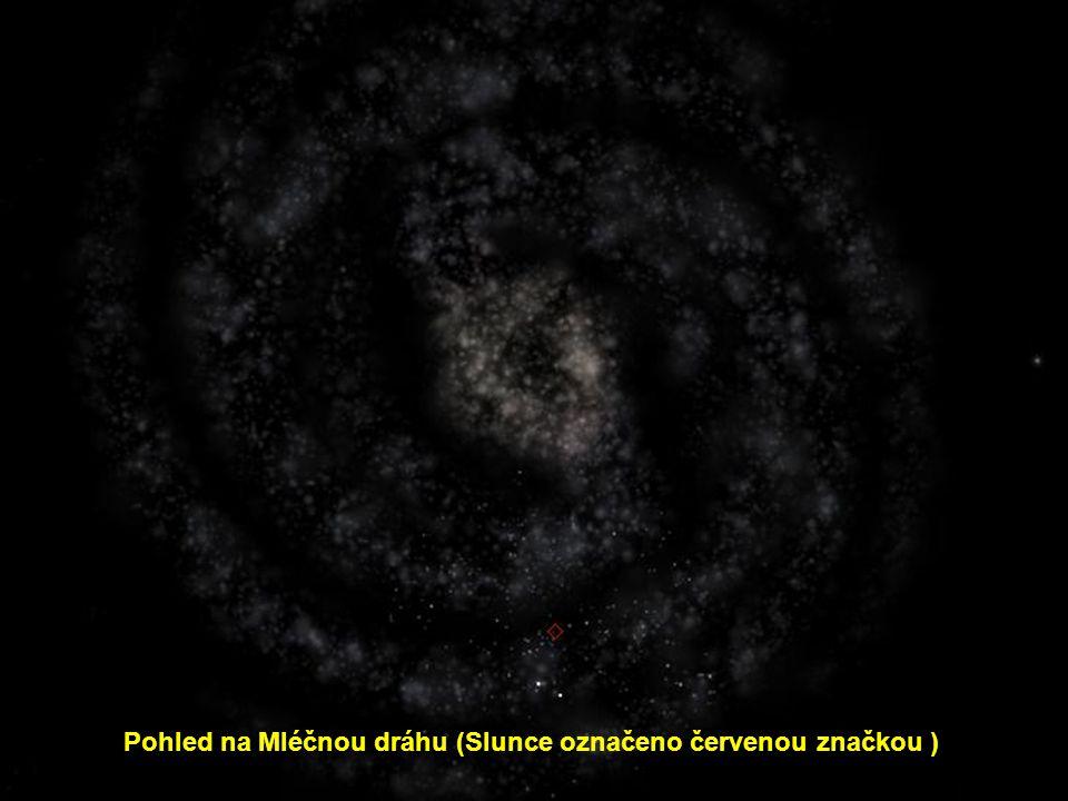 Pohled na Mléčnou dráhu (Slunce označeno červenou značkou )