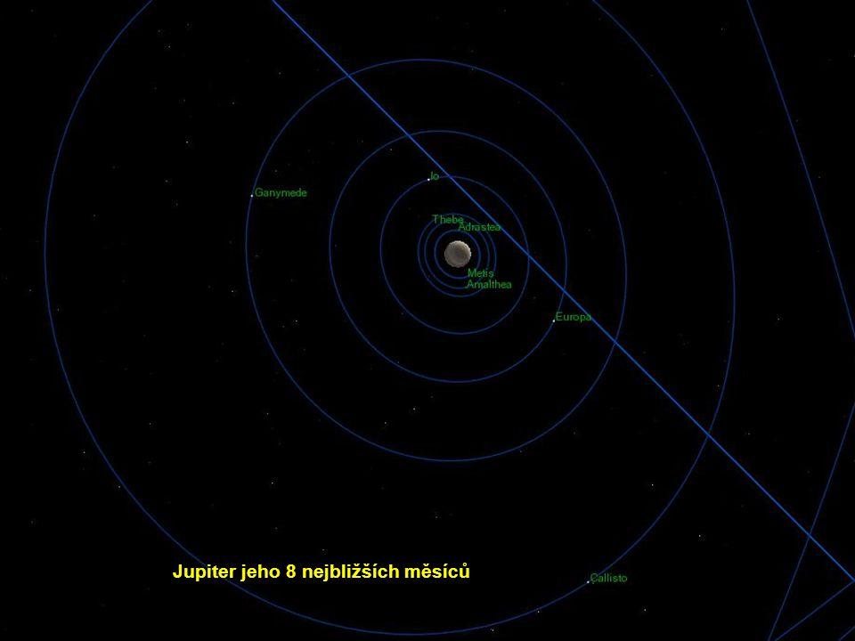 Jupiter jeho 8 nejbližších měsíců