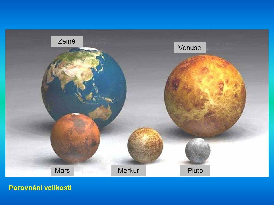 Země Venuše Mars Merkur Pluto Porovnání velikosti