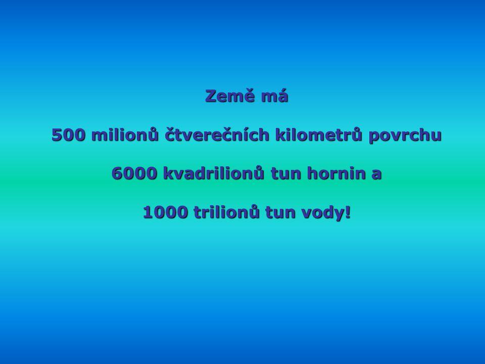 500 milionů čtverečních kilometrů povrchu