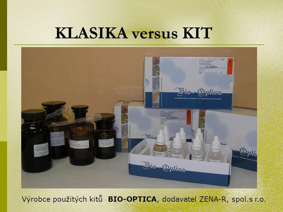 KLASIKA versus KIT Výrobce použitých kitů BIO-OPTICA, dodavatel ZENA-R, spol.s r.o.