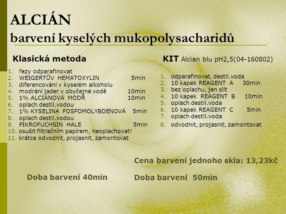ALCIÁN barvení kyselých mukopolysacharidů