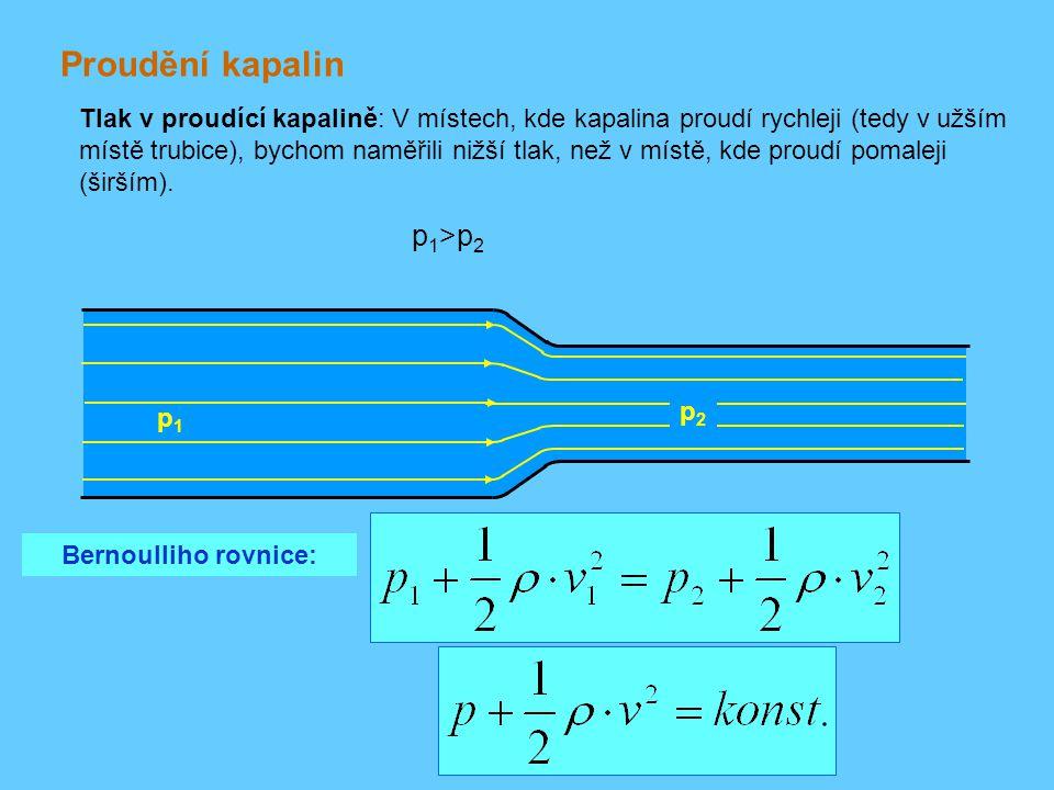 Proudění kapalin p1>p2