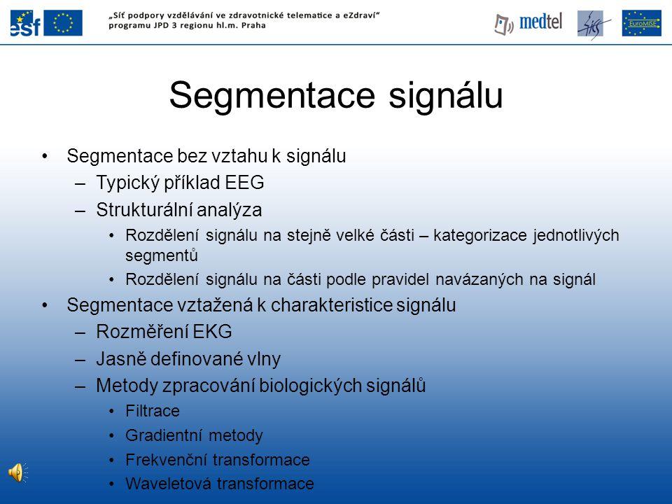 Segmentace signálu Segmentace bez vztahu k signálu Typický příklad EEG