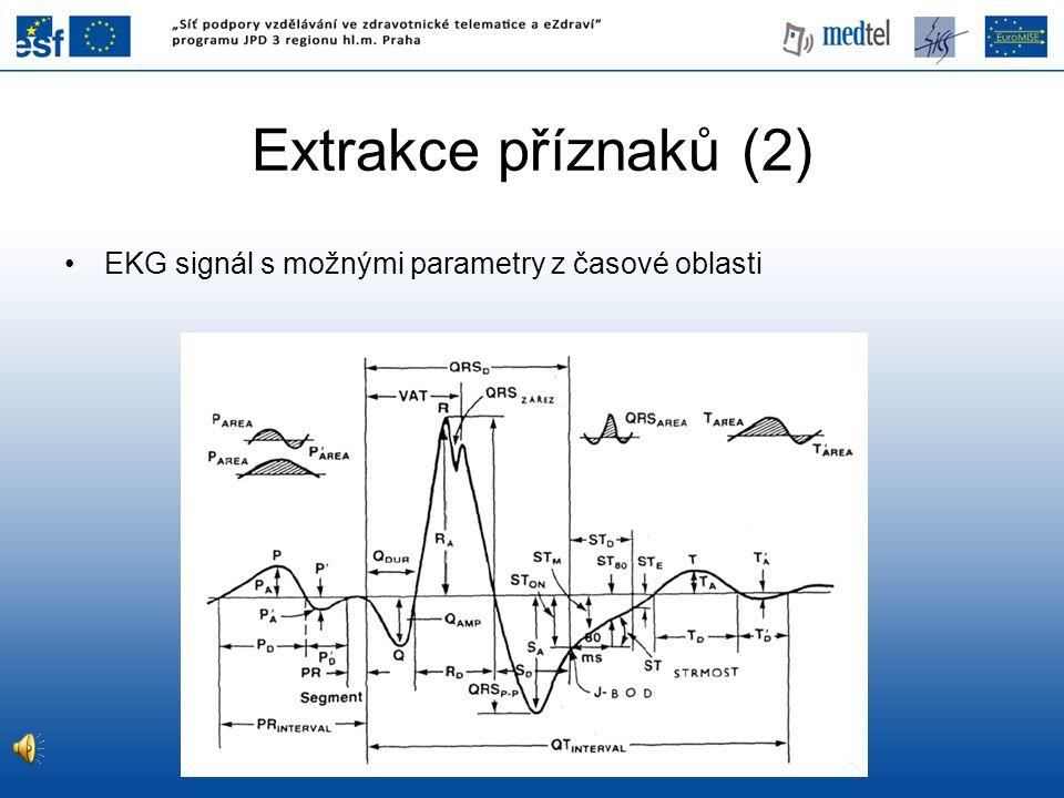 Extrakce příznaků (2) EKG signál s možnými parametry z časové oblasti