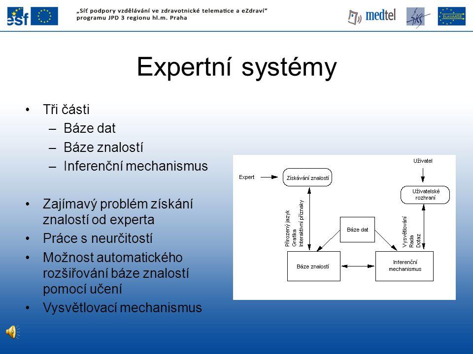 Expertní systémy Tři části Báze dat Báze znalostí