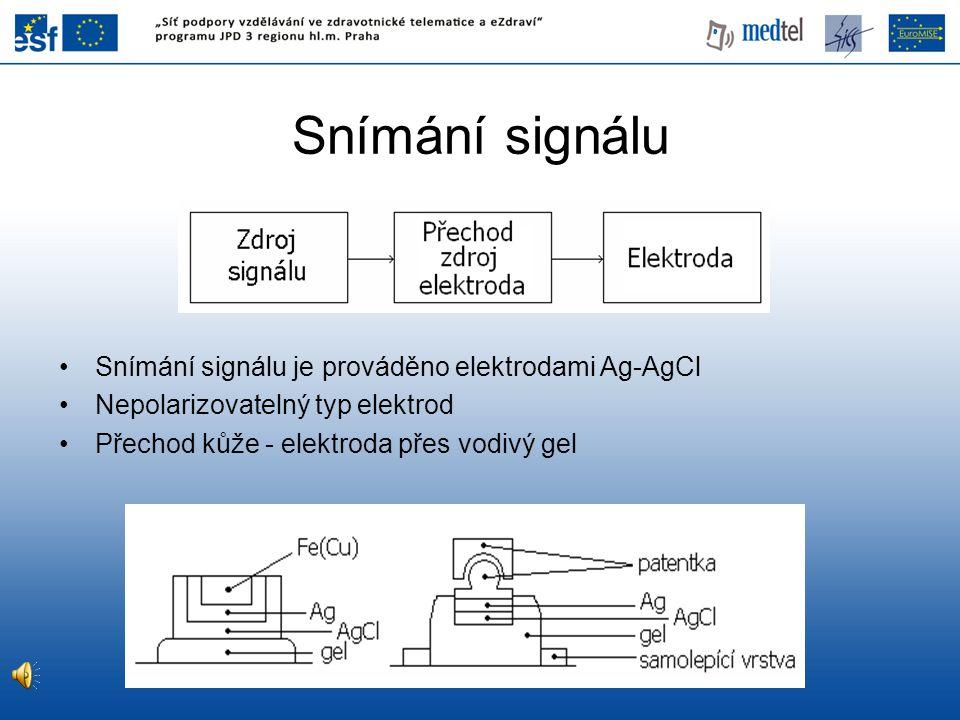 Snímání signálu Snímání signálu je prováděno elektrodami Ag-AgCl