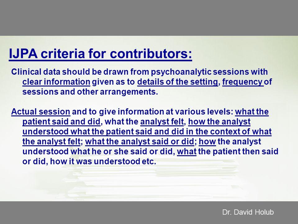 IJPA criteria for contributors: