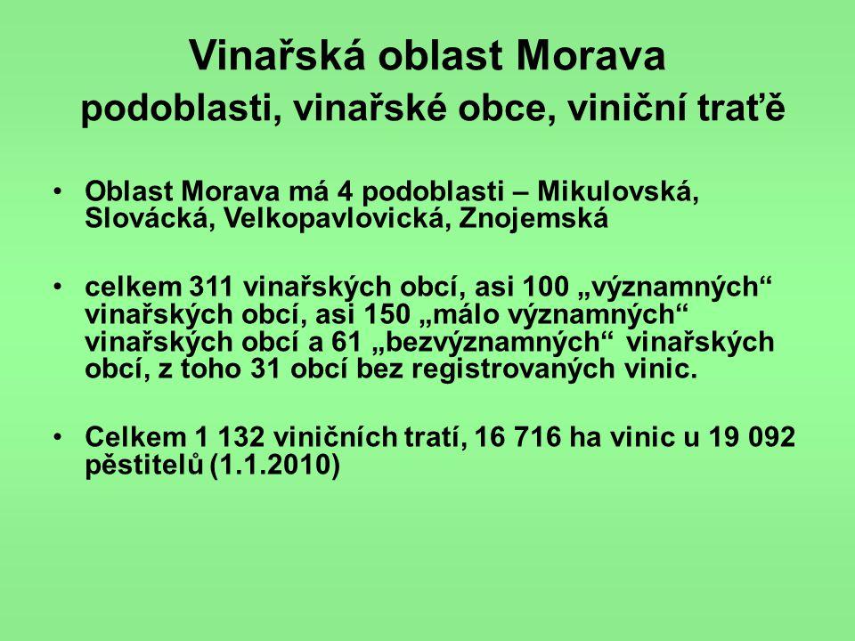Vinařská oblast Morava podoblasti, vinařské obce, viniční traťě
