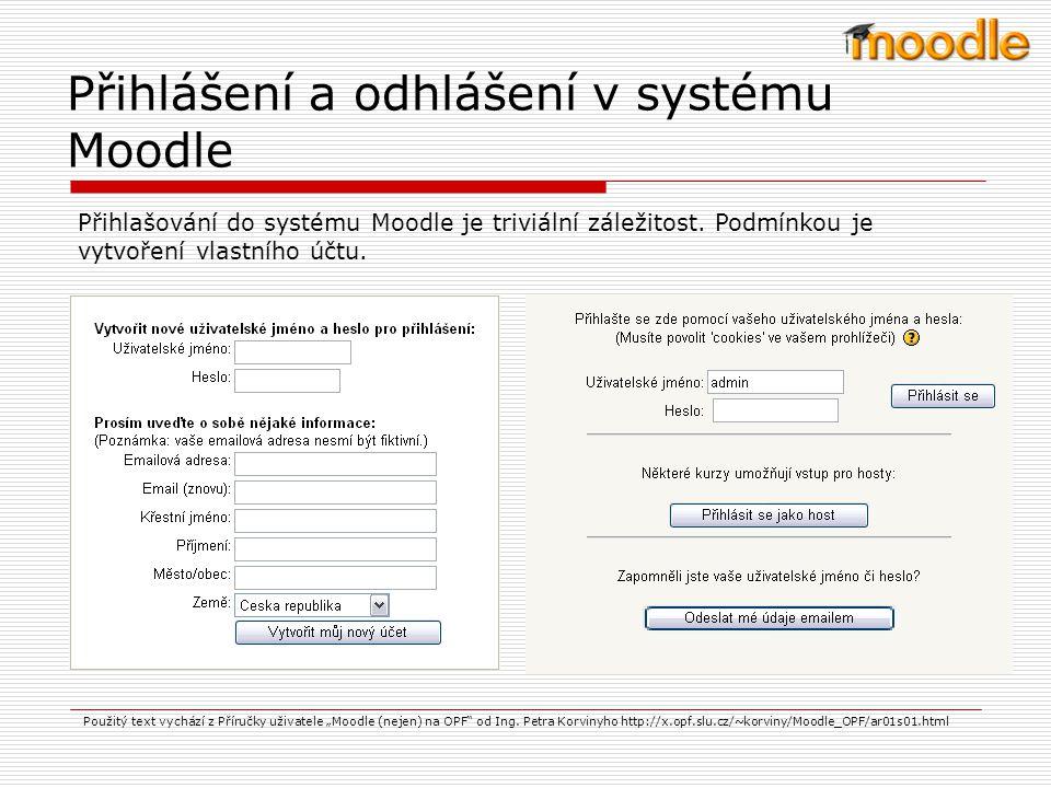 Přihlášení a odhlášení v systému Moodle