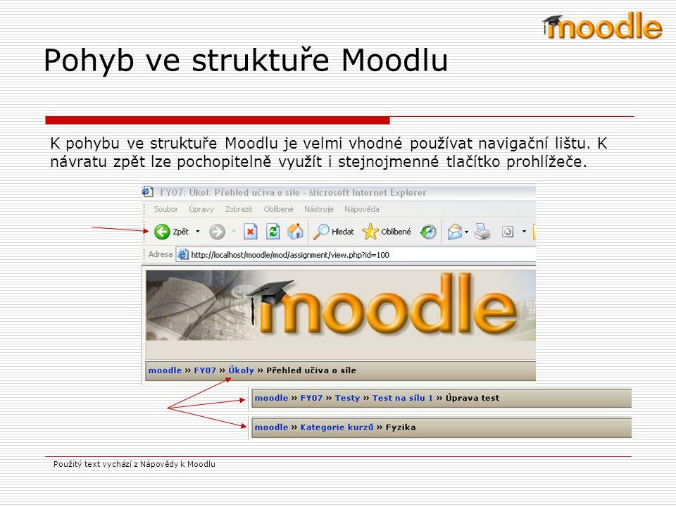 Pohyb ve struktuře Moodlu