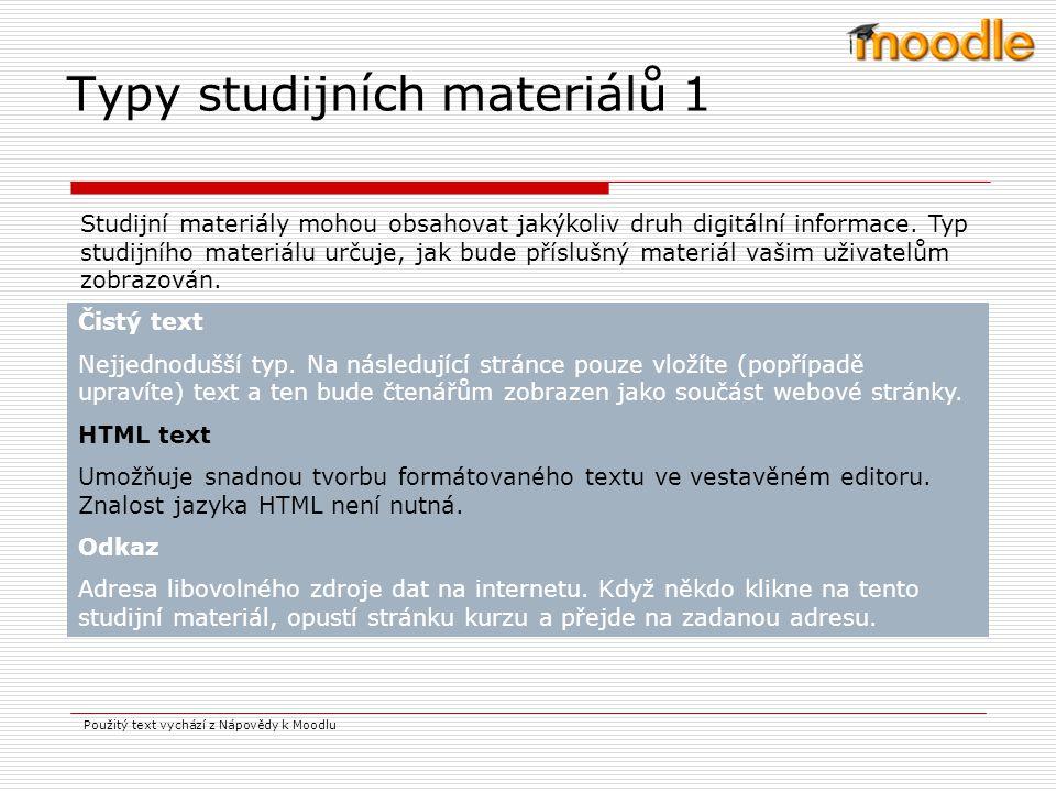 Typy studijních materiálů 1