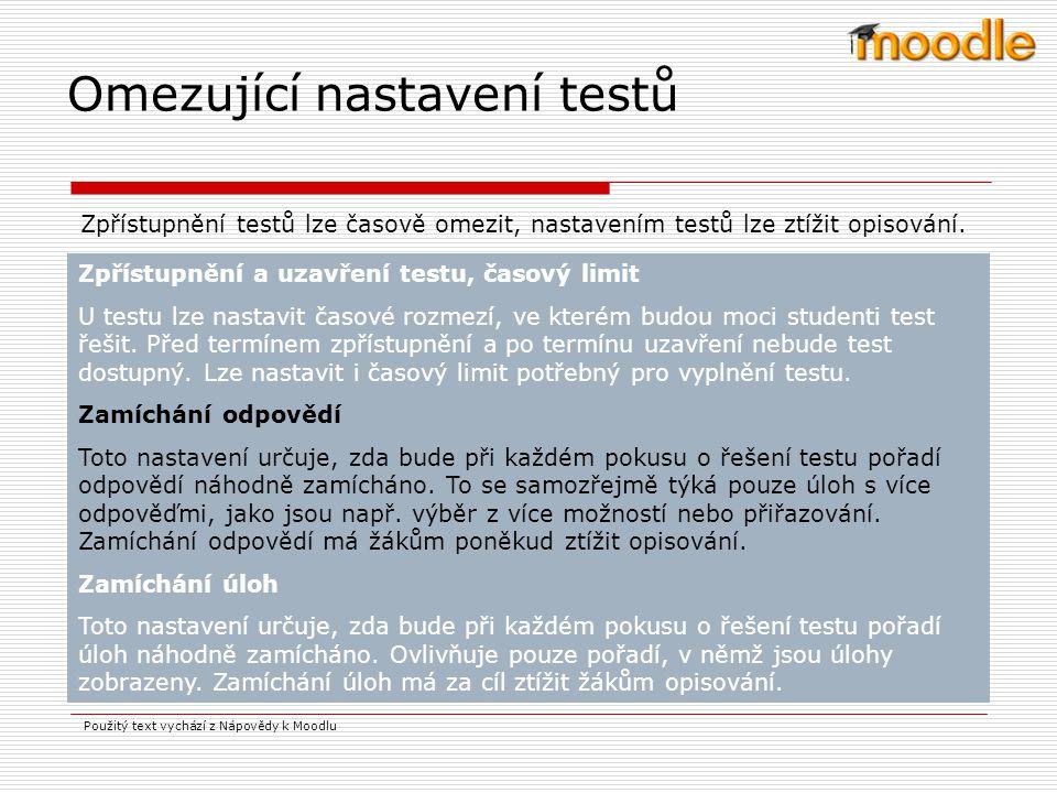 Omezující nastavení testů