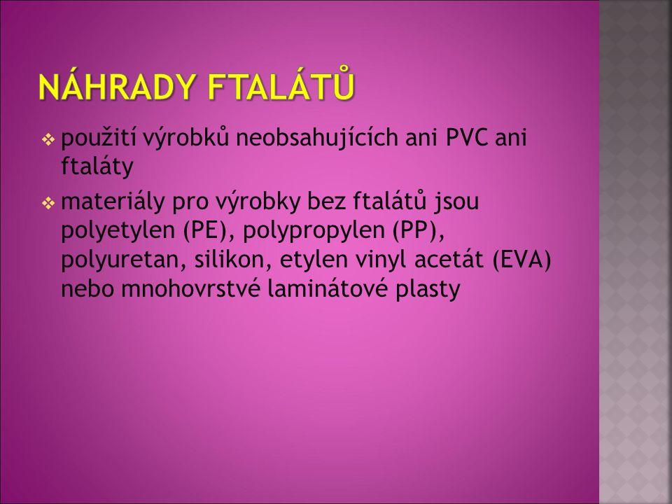 Náhrady ftalátů použití výrobků neobsahujících ani PVC ani ftaláty