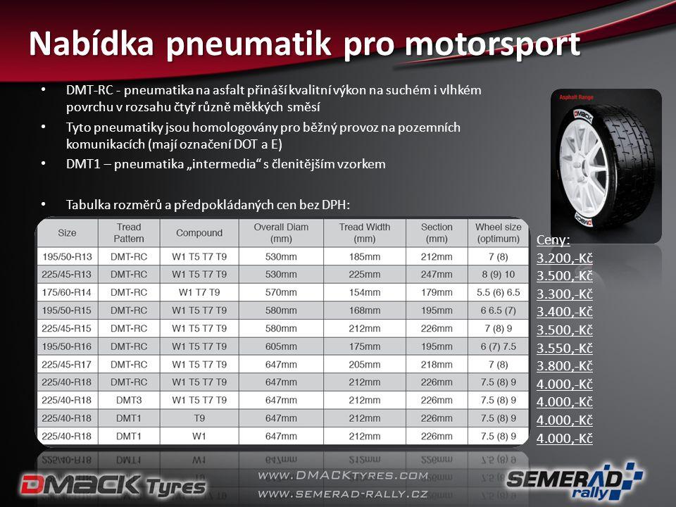 Nabídka pneumatik pro motorsport