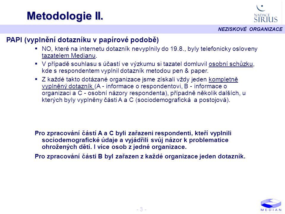 Metodologie II. PAPI (vyplnění dotazníku v papírové podobě)