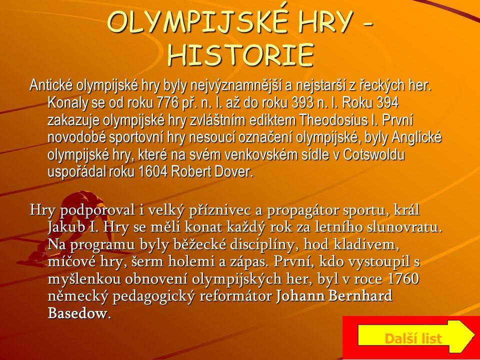 OLYMPIJSKÉ HRY - HISTORIE