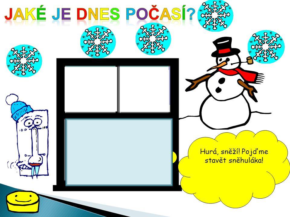 Hurá, sněží! Pojďme stavět sněhuláka!