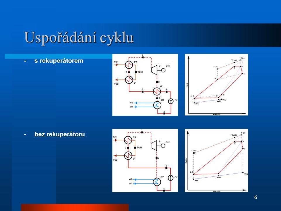 Uspořádání cyklu - s rekuperátorem - bez rekuperátoru