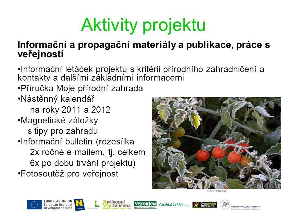 Aktivity projektu Informační a propagační materiály a publikace, práce s veřejností.