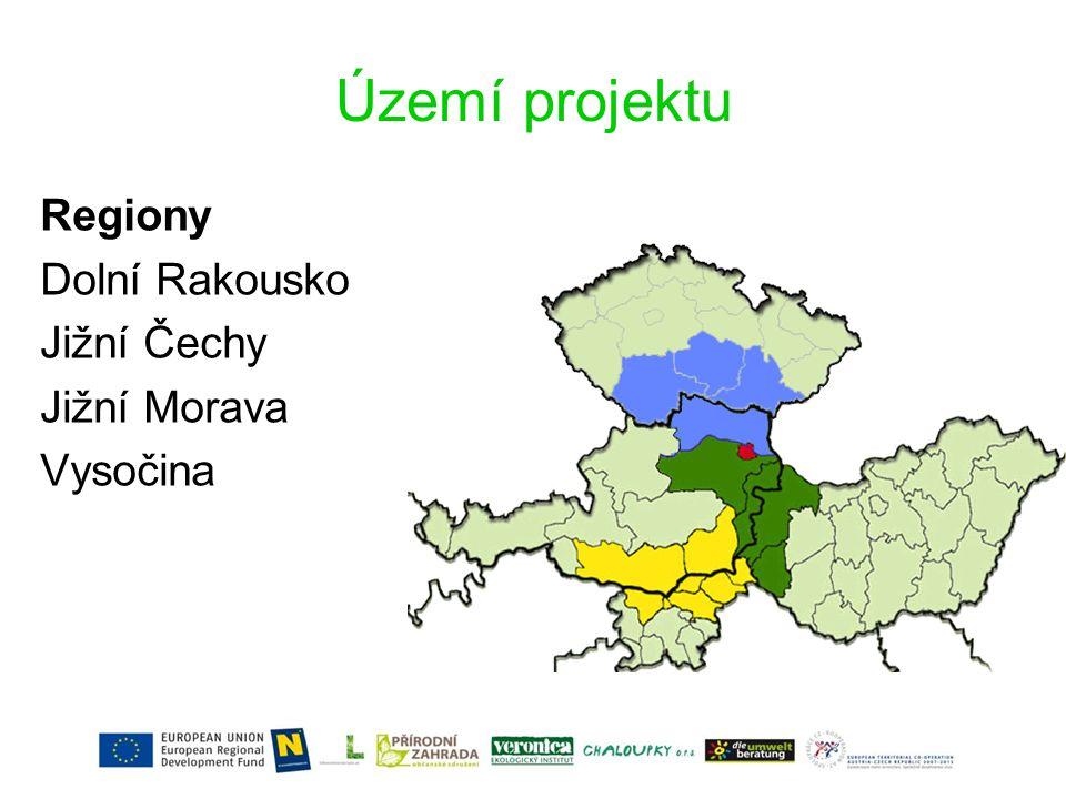 Území projektu Regiony Dolní Rakousko Jižní Čechy Jižní Morava