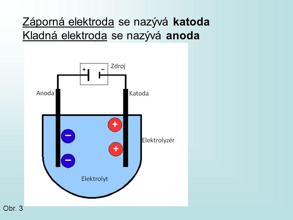 Záporná elektroda se nazývá katoda Kladná elektroda se nazývá anoda