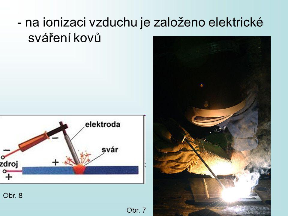 - na ionizaci vzduchu je založeno elektrické sváření kovů