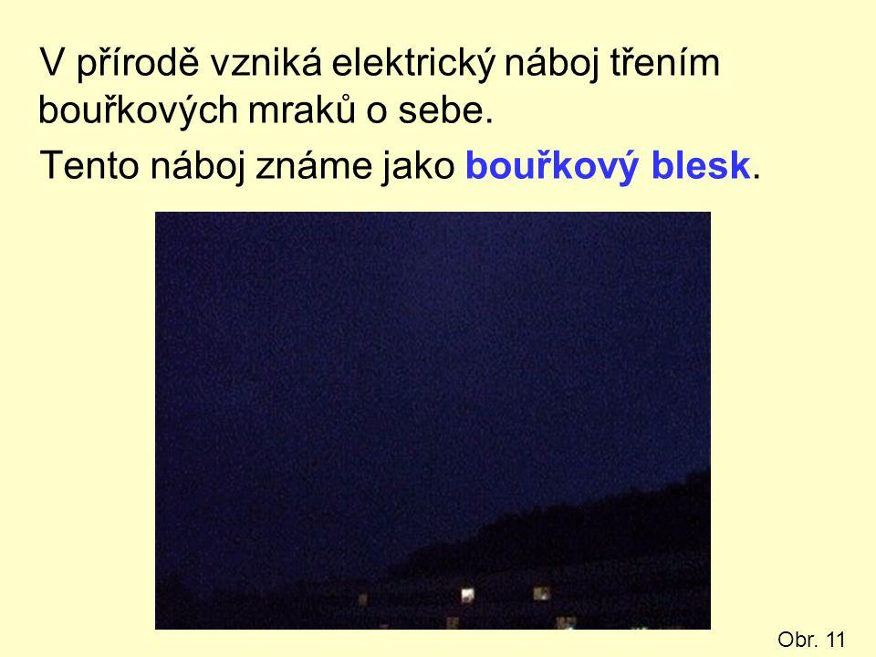 V přírodě vzniká elektrický náboj třením bouřkových mraků o sebe.