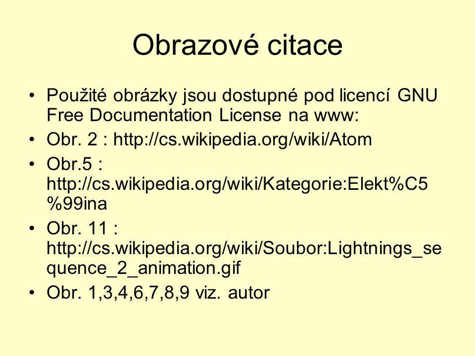 Obrazové citace Použité obrázky jsou dostupné pod licencí GNU Free Documentation License na www: Obr. 2 : http://cs.wikipedia.org/wiki/Atom.
